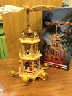 Vintage German weihnacht 3 tier Pyramid Nativity Candle Carousel In Box