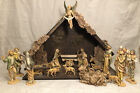 Nativity Set Italian Christmas Display 19 Figurines with a 2 Piece Stable