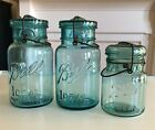 3 Vintage Ball Mason Jars 5 7 and 10 Wire Bail and Glass Lids c 1910 1933