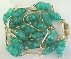 VINTAGE 32 MURANO ITALY GREEN SWIRL BLOWN GLASS NECKLACEGOLDTONE BAR CHAIN