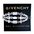 Givenchy Clear Crystal Silver Tone Hair Barrette Clip 2 Long NEW 58