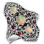 3CT Natural Fire Opal  Ruby 925 Sterling Silver Ring Jewelry Sz 7 OF1