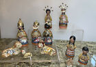 Vintage MEXICAN Clay Pottery Ceramic Nativity Scene Christmas Figurines Set