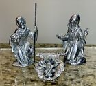 3pc Silver Pewter Metal Nativity Figurines Joseph Mary Baby Jesus 4