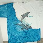 Vintage 1992 Altuf Maui All Over Print Ocean Dolphins Single Stitch Shirt XL