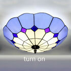 Art Stained Glass Flush Mount Light Bedroom Ceiling Lamp Fixture Tiffany Style