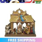 Wooden Nativity Tablepiece Set Christmas Decoration Indoor Party Occasion Brown