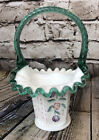 Fenton White Butterfly  Berry Basket 2001 The Museum Collection Lauderman