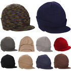 Men Hat Chunky Cable Knitted Beanie Winter Warm Baggy Visor Brim Casual Cap