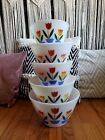 EUC FireKing Anchor Hocking Tulip Bowl Set 5 Piece