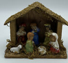Vintage Small Wood Crche Nativity Scene With Porcelain Children Figures Japan