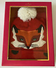 KATE SPADE New York Fairy Tale-Red Children's Wool Knit FOX HAT & SCARF SET S/M