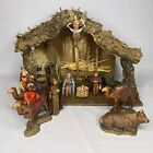 Vintage Sears Nativity Set Wood Stable Italy Landi ALL 10 figures 97893