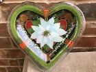 Peggy Karr Fused Glass Plate White Poinsettia Pine Cones Heart Shape Dish Signed