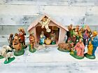 Vintage Atlantic Mold 1980s 25 Piece Nativity Set and Music Box Manger RARE