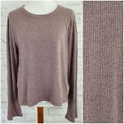 Madewell Long Sleeve Soft Top M2052 Ribbed Dusty Rose Heatherd Stretch Size XL