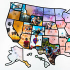 US Photo Map  24 x 36 inch Light Watercolor United States Travel Memory Map