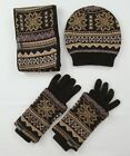Mukluks Reversible Accessories Gift Set Scarf, Beanie And Wrist Warmer Gloves
