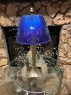 RARE Fenton Glass Favrene  Blue Sand Carved Lamp Limited Edition Signed 16 120