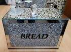 Large Diamond Crushed Crystal Glass Filled Bread Bin Container Kitchen Storage