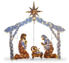 Outdoor Christmas Decorations Nativity Scene Lighted Display Yard Pre Lit Xmas