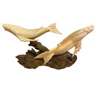 Humpback Baleen Whale Sculpture Marine Life Hand Carved Wood carving Statue