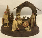 Nativity Scene Brown Cream Plastic With Base Made In Italy Vintage