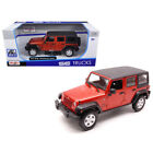 2015 Jeep Wrangler Unlimited Orange with Black Top 1 24 Diecast Model Car by
