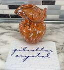 A Gibraltar Crystal Glass Bud Vase Orange Brown Clear White 35 with COA