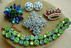 Vintage 1950 60 Bold All RHINESTONE Wearable Jewelry Lot Estate Collection