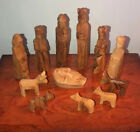 Olive Wood Nativity Scene Hand Carved 12 Piece Set with Magi Wise Men  Animals