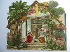 RARE LARGE GERMAN VICTORIAN DIE CUT CHRISTMAS NATIVITY SCENE FOLD OUT