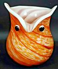 Hand Blown Studio Art Glass Owl Vase Planter White Orange Brown 6