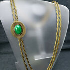 Vintage Green Glass Antiqued Gold Twisted Mesh Double Chain Necklace Small Belt