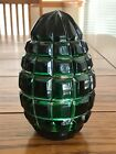 Green Cut to Clear Crystal Egg Heavy Paperweight Square Criss Cross Pattern