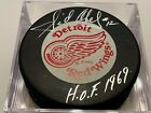 SID ABEL Detroit Red Wings AUTOGRAPHED Auto Signed NHL Hockey Puck COA HOF 1969