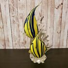 Art Glass Tropical Dual Angel Fish Paperweight Yellow  Blue