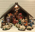 Vintage 19 Pc Atlantic Mold Hand Painted Nativity Set 7 Scale W Lighted Stable