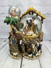 Christmas Nativity 3 Tier Lighted Water Snow Globe Musical Go Round No Box