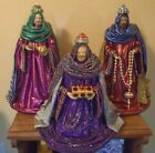 Antique VTG Paper Mache 3 Wise Men Kings for Nativity Set 12 16 inches tall