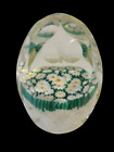 Vintage Art Glass Paper Weight Faceted Millefiori Flower Lace Murano A1