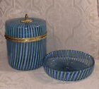 Rare Vintage Mottahedeh Murano Blue Green Striped Glass Lidded Canister  Dish