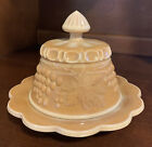Caramel Chocolate Slag Glass Mosser Fenton  Covered Butter Dish With Grapes