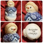 Fenton Glass Mrs Snowman Snowlady Figurine Blue Christmas Artist Signed Figure