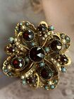 Vintage Signed ART Turquoise Beads Red Glass Rhinestone Brooch Seed Pearls Pin