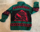 177 CANADIAN SWEATER COMPANY Cowichan Totem Chief Native American Wool Knit M L