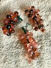 3 Solid Glass Grape Clusters appx 53 Grapes Murano Hand Blown Exquisite