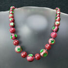 ATQ Deco Bohemian Satin Pink Green Foil Dot Glass Bead Knotted Necklace 165
