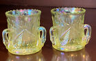 Pair 2 Westmoreland Iridescent Vaseline Yellow Glass Swan Toothpick Holders