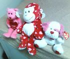 TY-RARE HTF VALENTINE DAY-Pluffie HARTS, Beanies ADORE & LOVESICK- New & MWMT